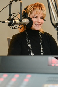 Kimberle Levin in the Montco Radio studio. Photo by Sandi Yanisko