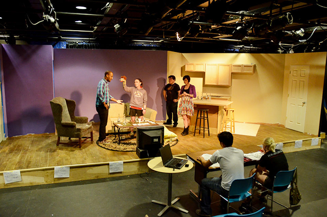 "Students rehearse for ""Recent Tragic Events"" in the Black Box Theater. Photo by Matt Carlin"