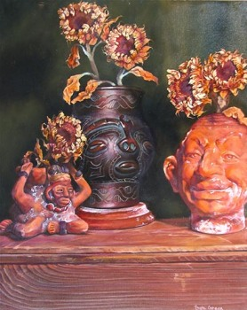 """Pot Heads"" by Betz Green, oil on board"