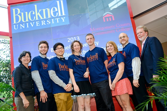 Six Montgomery County Community College students were accepted into the Summer 2013 Residency Program as part of the Bucknell University Community College Scholars Program, which provides for tuition, room and board and books. Students Lydia Crush, Brian Hipwell, Mallory Murphy, David Reedel, Eun Shim and Ken Stephon stand with MCCC President Dr. Karen A. Stout (left) and Mark Davies, Bucknell's Assistant Vice President for Enrollment Management and the liaison for the Community College Scholars Program (right). Photo by Sandi Yanisko
