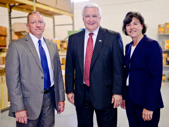 College President Dr. Karen Stout with Governor Corbett at the May 31 WEDnetPA press conference.