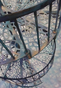 """First Place was awarded to Susannah Hart Thomer for her watercolor painting, """"Escalation."""""""