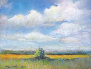 "Third Place was awarded to Teresa McWilliams Farina for her pastel, ""Pennypacker Mills Tranquility."""