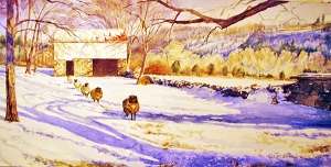 "Staff Choice Award was presented to Lori Quinque-Quinn for her watercolor painting, ""The Coyle Farm Winter Sheep."""