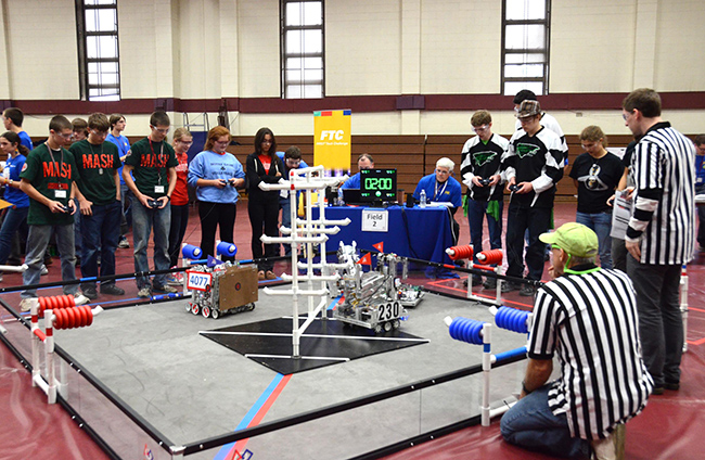 A scene from last year's robotics competition. Photo by Christine Reckner