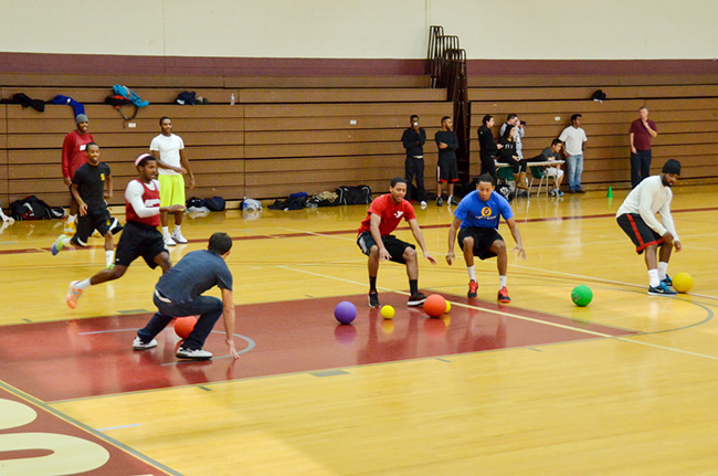 More than 60 students, faculty and staff competed in the recent Dodgeball Tournament organized by MCCC Exercise Science and Wellness students. Photo by Matt Carlin