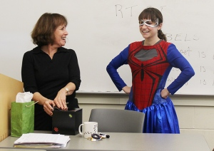 Volunteer Kristina Piscitelli presented  Dr. Debbie Levin with her 2014 Superheroes United for Kids nomination. Photo by Alana J. Mauger