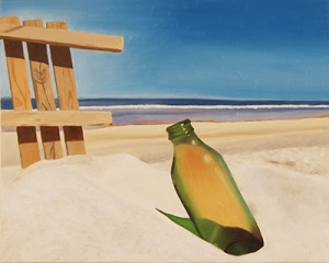 """The Bottle on the Beach,"" oil painting by Lauren Marsh, Pottstown."