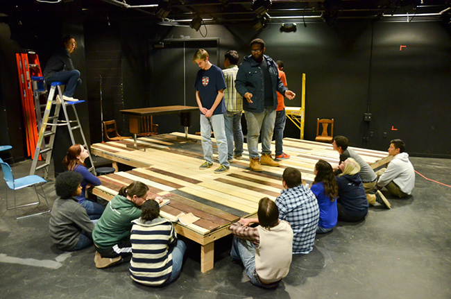 "Student rehearse for ""The Laramie Project"" by Moisés Kaufman and Members of the Tectonic Theater Project. Photo by Matt Carlin"