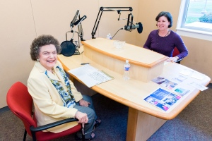 "President Dr. Karen A. Stout with guest Alma Jacobs ready for the 500th recording of ""Montgomery County Community College on the Air."" Photo by Sandi Yanisko"