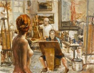 """Painting by Wayne Hibschman, """"Chuck's Studio."""""""