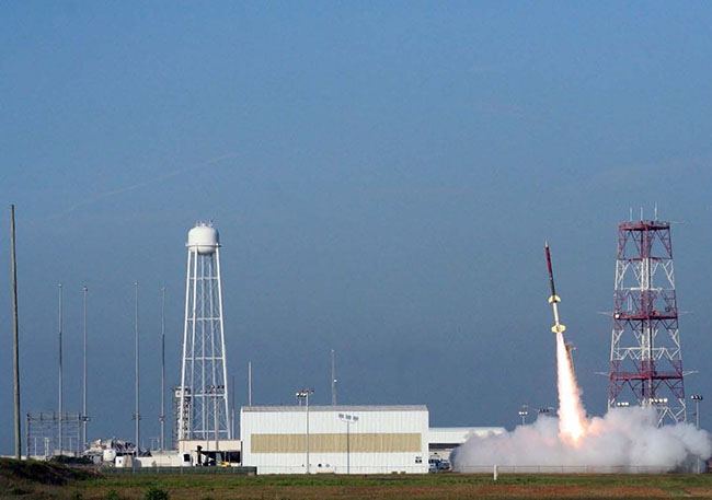 Students watched the launch of the RockOn Terrier-Improved Orion Sounding Rocket, which reached an altitude of 73.3 miles and landed in the Atlantic Ocean via parachute, approximately 43.9 miles away from the launch site.
