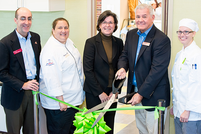 Dean of Business & Entrepreneurial Initiatives/Strategic Advisor to the President Philip Needles, Culinary Arts Institute Director Chef Francine Marz, College President Karen A. Stout, College Board of Trustees Chairperson Michael D'Aniello and Culinary Arts Student Jennifer Rejniak cut the ceremonial ribbon for the opening of the Culinary Arts Institute's new retail bakery café, Forty Foot Café. Photo by Sandi Yanisko