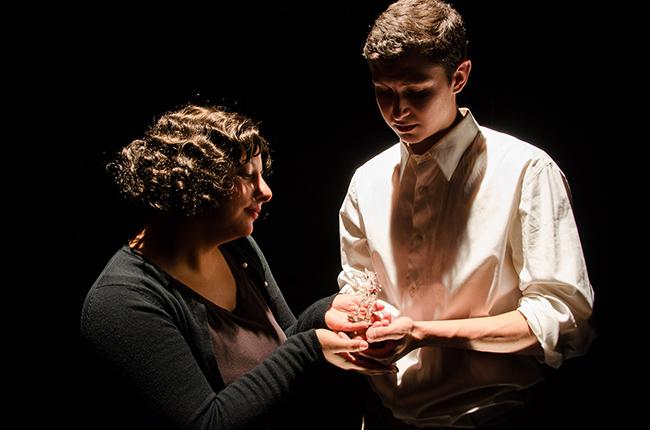 Cast members rehearse in the College's Black Box Theatre. Photo by Matt Carlin