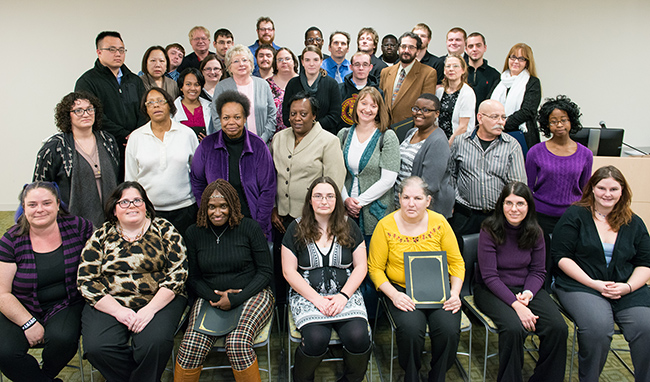 POWER and POWER Plus Program participants at the Dec. 4 graduation ceremony.  Photo by Sandi Yanisko