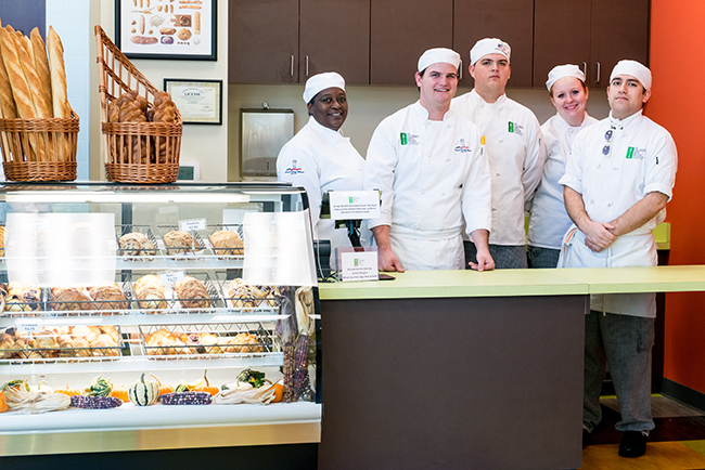 Students staff the Forty Foot Café at the Culinary Arts Institute.
