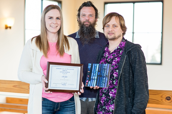 "Montgomery County Community College's Art and Literature Magazine, ""Forty-Three,"" placed first in the 2014 American Scholastic Press Association Annual Contest/Review for Scholastic Yearbooks, Magazines & Newspapers. From left: Editor-in-Chief Jessica Hughes and Co-Advisors Art Regular Lecturer Christopher Stanley and English Senior Lecturer Thomas Powers. Photo by Sandi Yanisko"