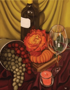 """Still Life With Grapes,"" oil painting by Eva Hozinez."