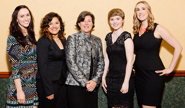 Montgomery County Community College President Dr. Karen A. Stout (center) stands with the College's All-Pennsylvania Academic Team honorees: (from left) Caitlin Moser, Angelina Sirak, Kendra Houck and Heidi Hunsberger. The students were honored during a banquet and award ceremony on April 13 in Harrisburg. Photo courtesy of the PA Commission for Community Colleges