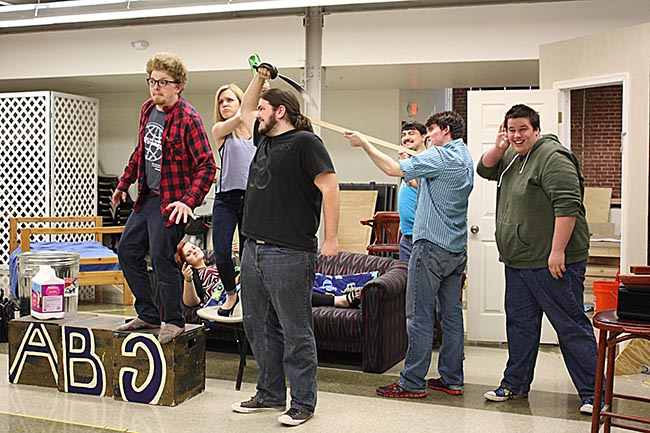 "Cast members rehearse for the upcoming performances of Peter Shaffer's ""Black Comedy"" on Thursday, Friday and Saturday, April 23, 24 and 25, at 7 p.m. and on Friday, April 24, at 12:30 p.m. in Montgomery County Community College's West Campus. Photo by Diane VanDyke"
