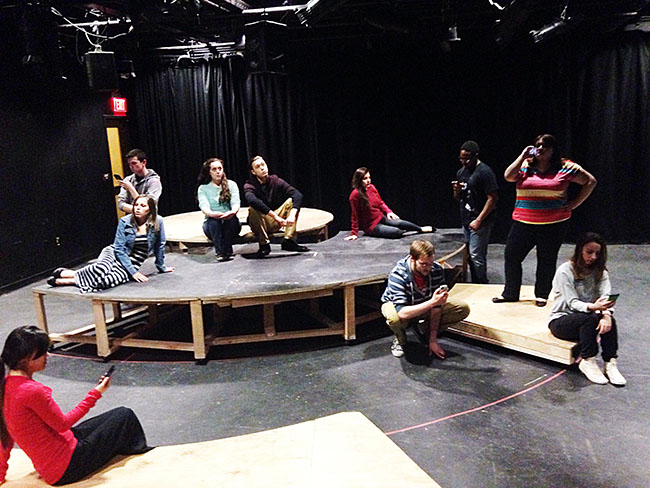 "DMCP Cast: Directed by Jessica Dalcanton, assisted by Alexander McDermott, the cast of ""Dead Man's Cell Phone"" includes Joe Donely, Carly Watson, Allison Wentzel, Zach Clark, Jeff Chernesky, Myasia Bynum, Nicholas Bartelmo, and Joseph Borders. The production is stage managed by Matt Nitchke; Tim Odom serves as production manager. The production is designed, produced and presented by the students of the Drama Club and Theatre Production Workshop, under the guidance of Tim Gallagher and Christopher Kleckner. Photo by Jessica Dalcanton"
