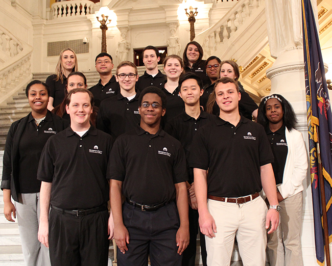 Students from Montgomery County Community College attended Lobby Day in Harrisburg to advocate for funding of community colleges. Photo by Alana Mauger