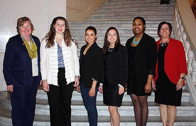 Montgomery County Commuinty College students travel spent a day job shadowing Pa. State Representatives in Harrisburg. Pictured, from left, are State Representative Kate Harper, Rachel Lightstone, Caitlyn Verdin Soriano, Rachel Glazman, Kayla Burnham and State Representative Marcy Toepel. Photo by Diane VanDyke