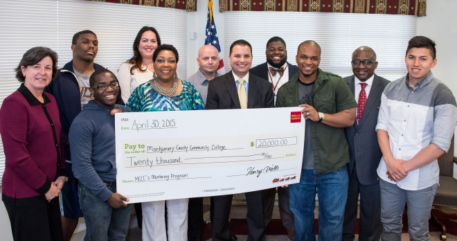 Wells Fargo recently presented a $20,000 grant to Montgomery County Community College to provide scholarships for students participating in the College's Minority Student Mentoring Initiative. Back row, from left: Student Zachary Collier, Philadelphia; Tara A. Brady, Wells Fargo Assistant Vice President/Senior Relationship Manager; student Fernando Garcia, Pottstown; Edward Brown, MCCC Academic Advisor; and Dr. Steady Moono, Vice President of West Campus in Pottstown. Front row, from left: Dr. Karen A. Stout, College President; student Jacori McEachnie, Eagleville; student Diahann McIntyre, Norristown; Anthony Rosado, Wells Fargo Area President for Montgomery County; student Clifton Ford, Pottstown; and Wilson Gonzalez, Souderton. Photo by Sandi Yanisko